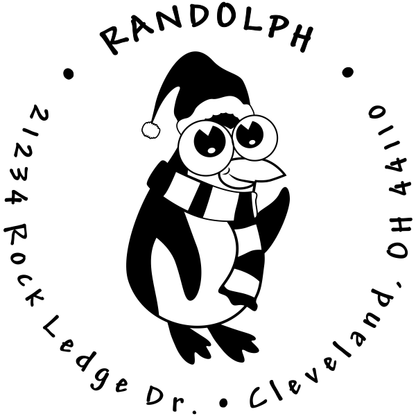 Wide Eyed Cute Penguin Custom Return Address Stamper