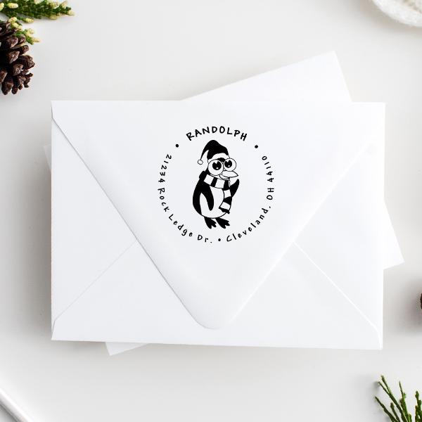 Big Eyed Penguin Return Address Stamp Imprint Example