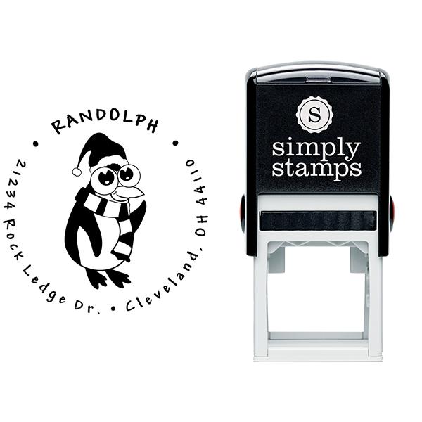 Big Eyed Penguin Return Address Stamp Body and Design