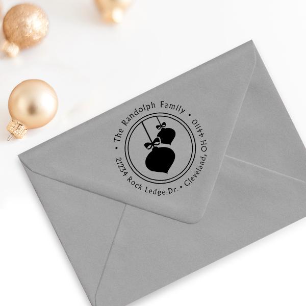 Randolph Christmas Ornaments Return Address Stamp Imprint Example