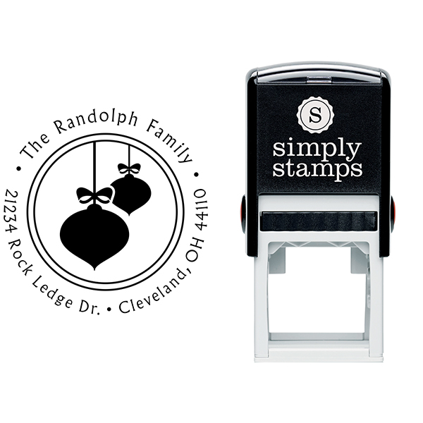 Randolph Christmas Ornaments Return Address Stamp Body and Design