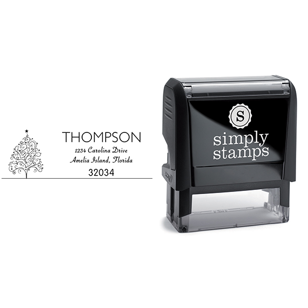 Curly Christmas Tree Return Address Stamp Body and Design