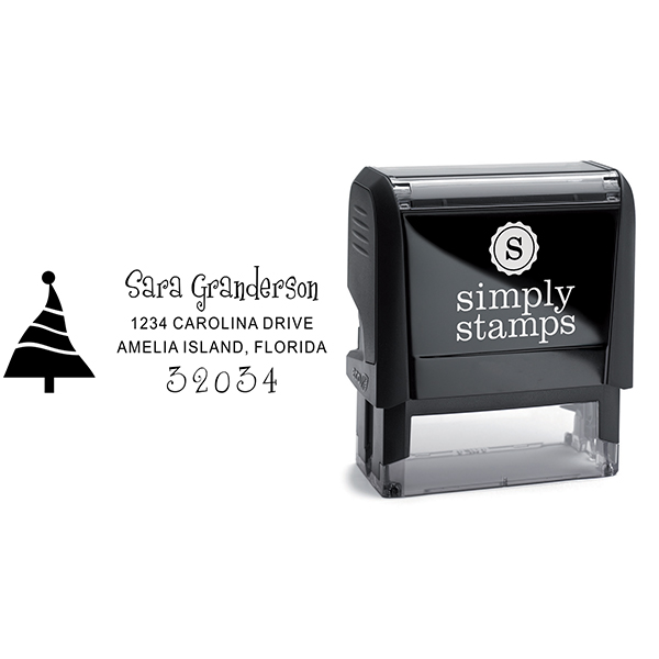 Dancing Christmas Tree Address Stamp Body and Design