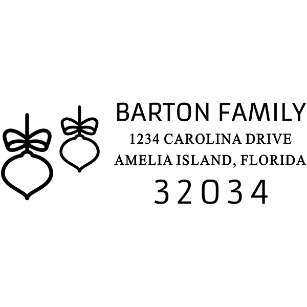 Double Bow Ornament Address Stamp