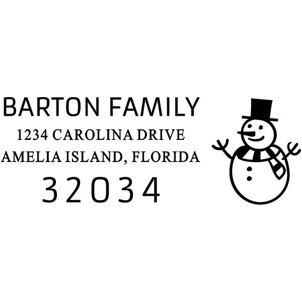 Happy Snowman Rectangle Address Stamp