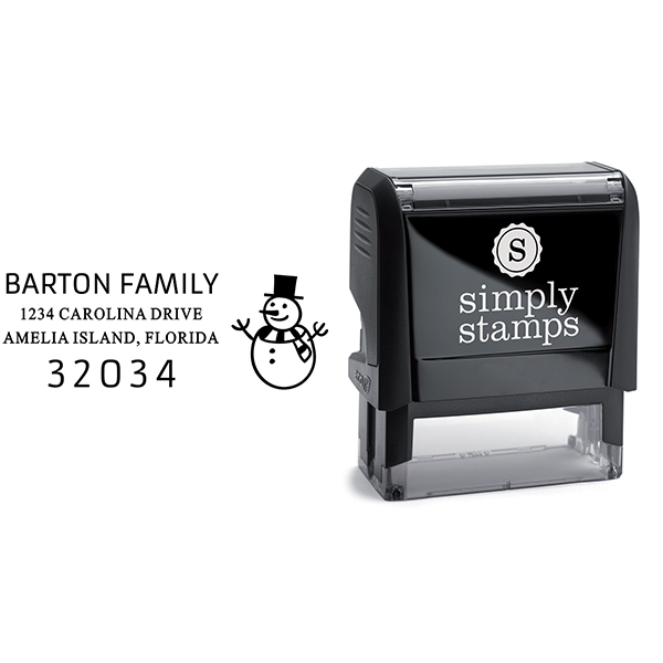 Snowman Rectangle Address Stamp Body and Design