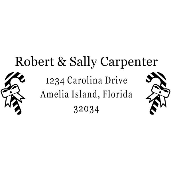 Ribbon Candy Cane Address Stamper