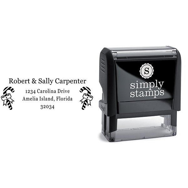 Carpenter Candy Cane Address Stamp Body and Design