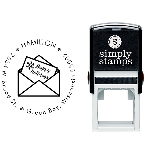 Happy Holidays Card Address Stamp Body and Design