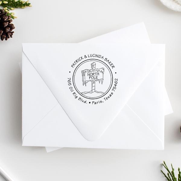 North Pole Return Address Stamp Imprint Example