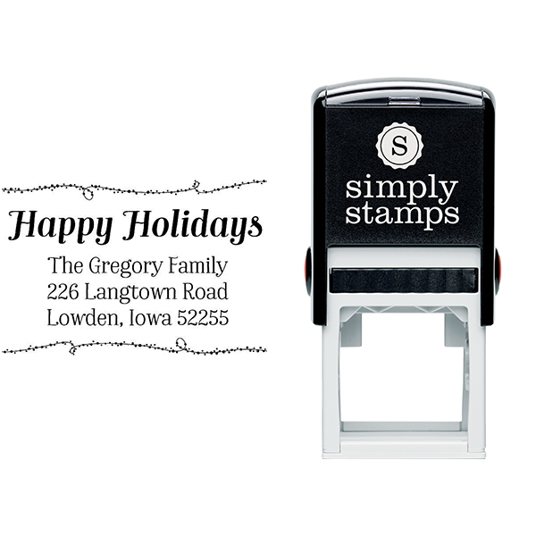 Happy Holidays Winter Lights Return Address Stamp Body and Design