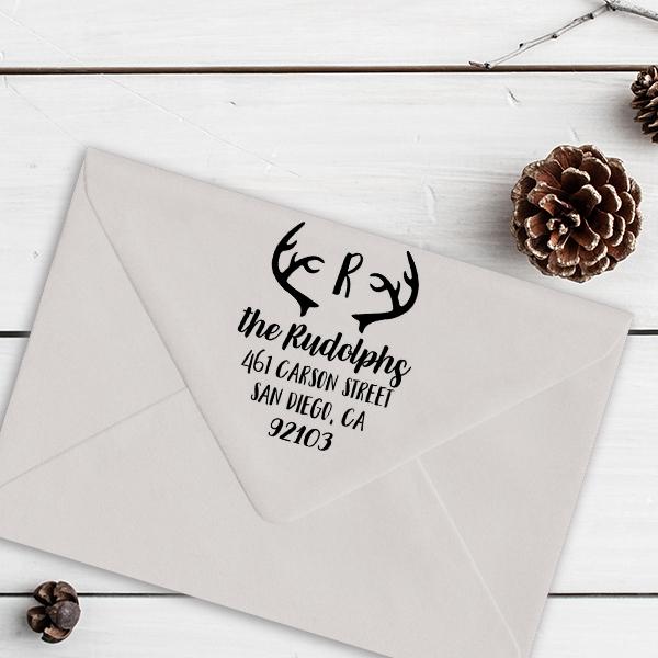 Antlers Festive Holiday Return Address Stamp Imprint Example