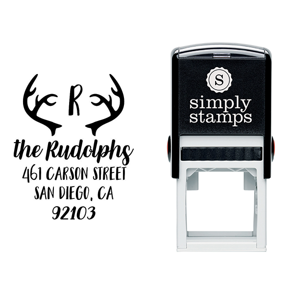 Antlers Festive Holiday Return Address Stamp Body and Design