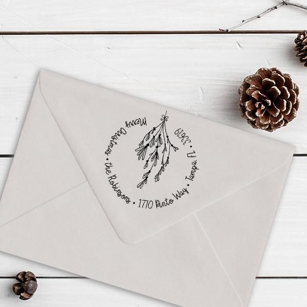 Mistletoe Round Script Christmas Return Address Stamp Imprint Example