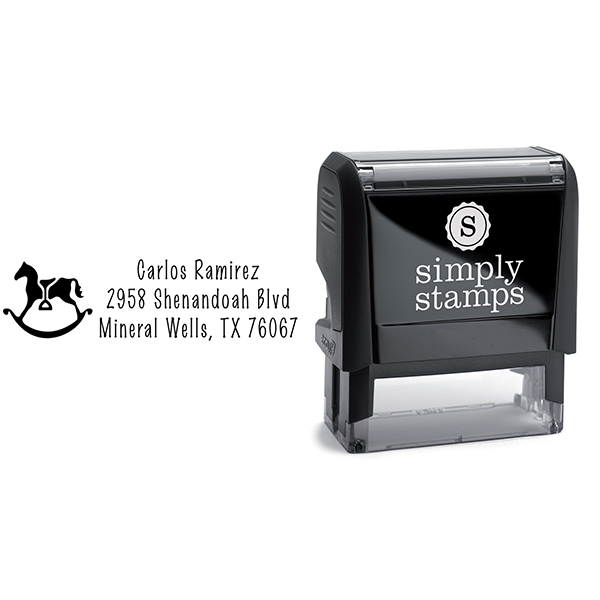 Rocking Horse with Stirrup Address Stamp Body and Design