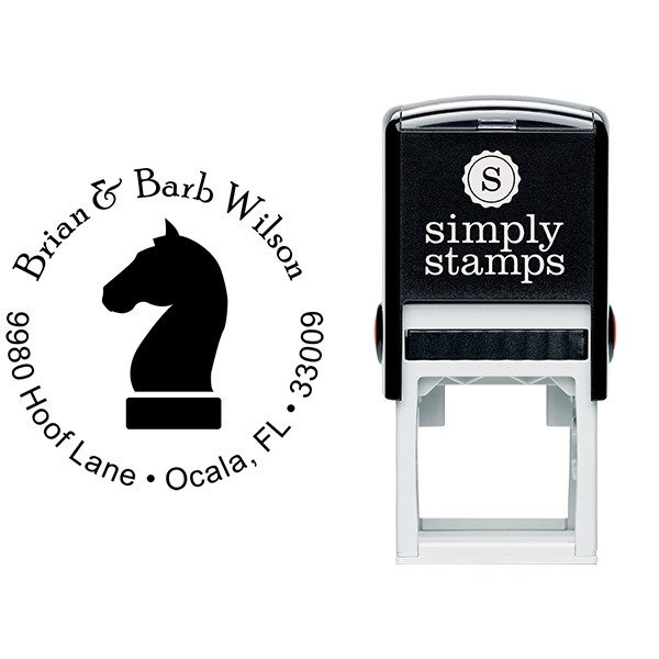 Chess Knight Round Address Stamp Body and Design