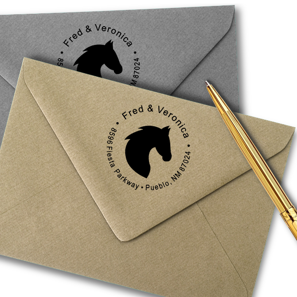 Solid Horse Head Round Address Stamp Imprint Example