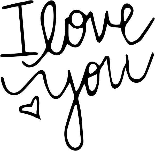 I Love You Hand Lettered Stamp