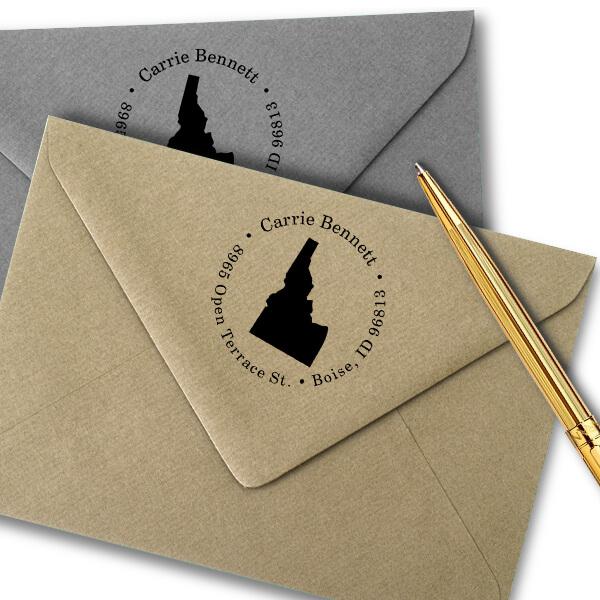 Idaho Round Address Stamp Imprint Example