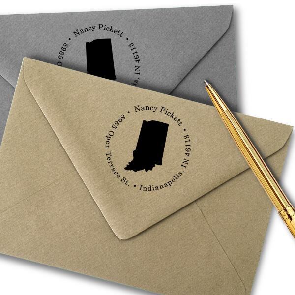 Indiana Round Address Stamp Imprint Example