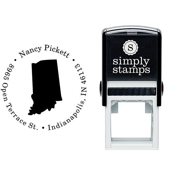 Indiana Round Address Stamp Body and Design