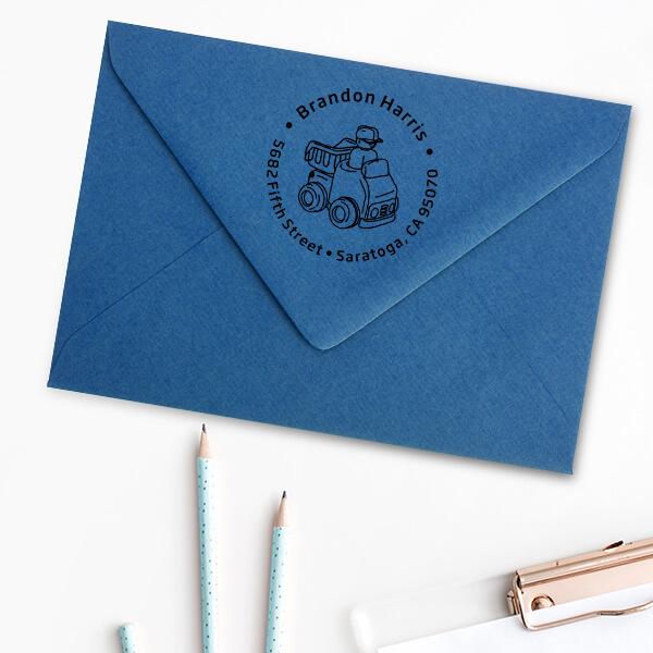 Dump Truck Return Address Stamp Imprint Example