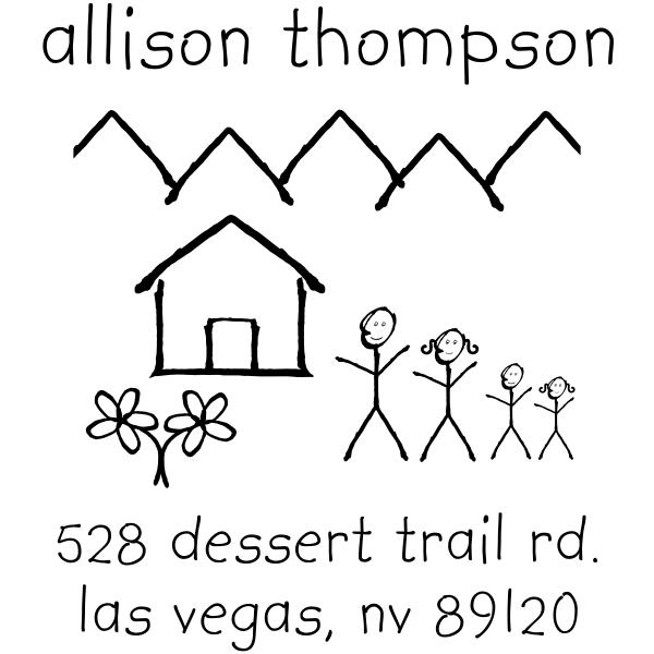 Family Doodle Return Address Stamp