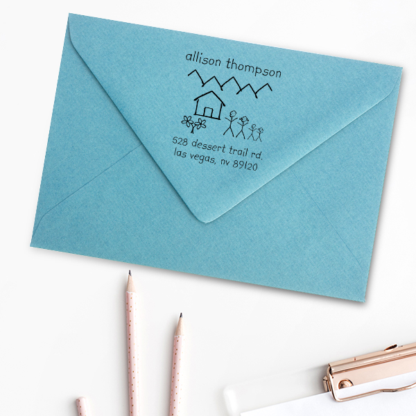 Family Doodle Return Address Stamp Imprint Example