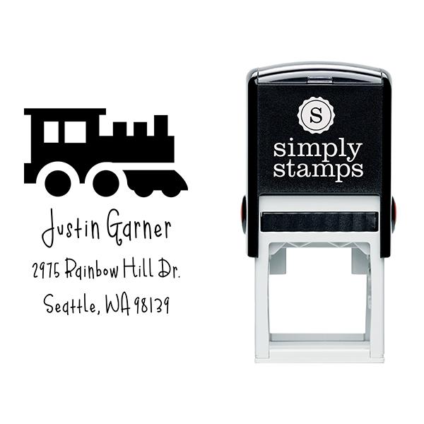 Toy Train Engine Return Address Stamp Body and Design