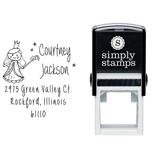 Fairy Princess Doll Return Address Stamp Body and Design