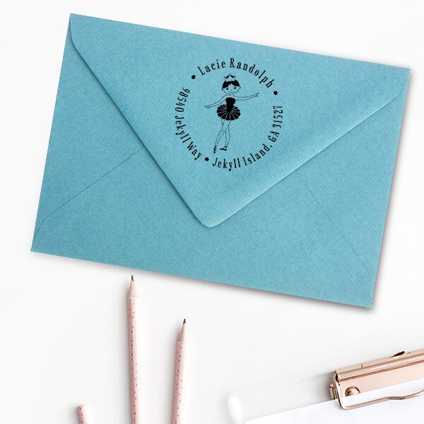Ballerina Return Address Stamp Imprint Example