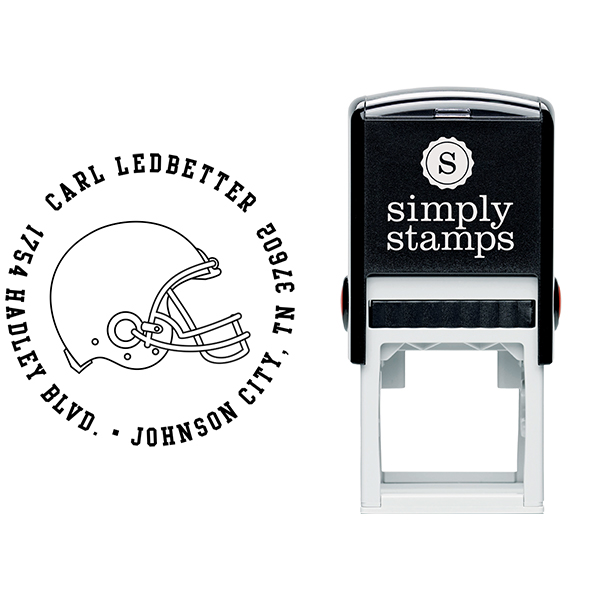 Football Helmet Return Address Stamp Body and Design