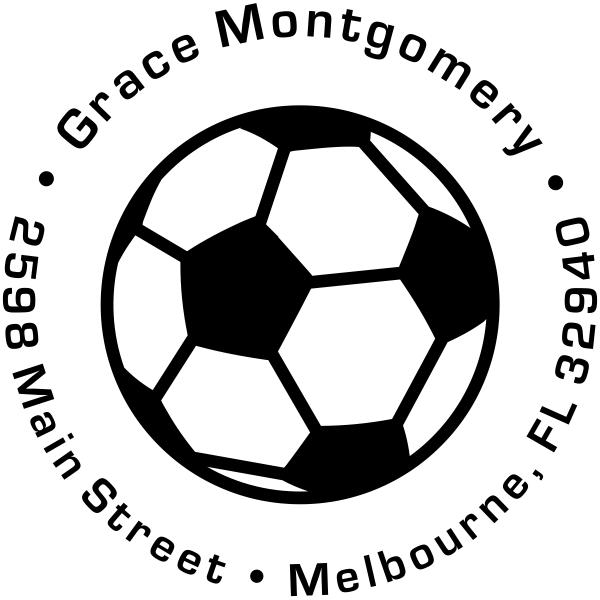 Soccer Ball Return Address Stamp