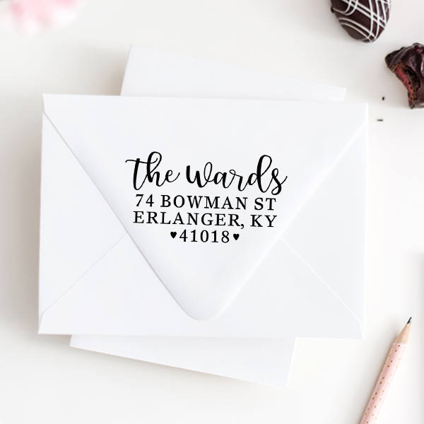 Whimsical Heart Wedding Address Stamp