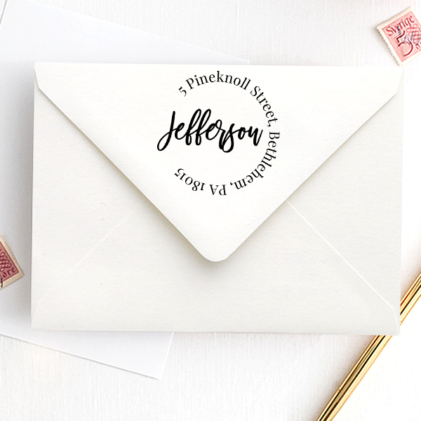 Modern Script Round Address Stamp
