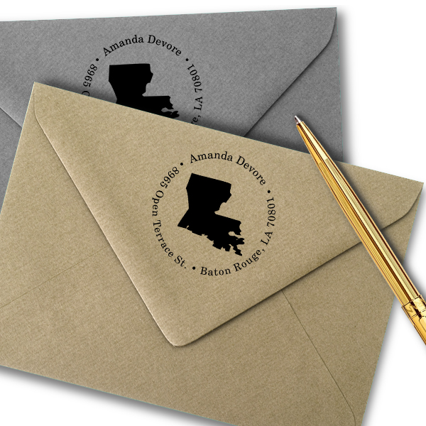 Louisiana Round Address Stamp Imprint Example