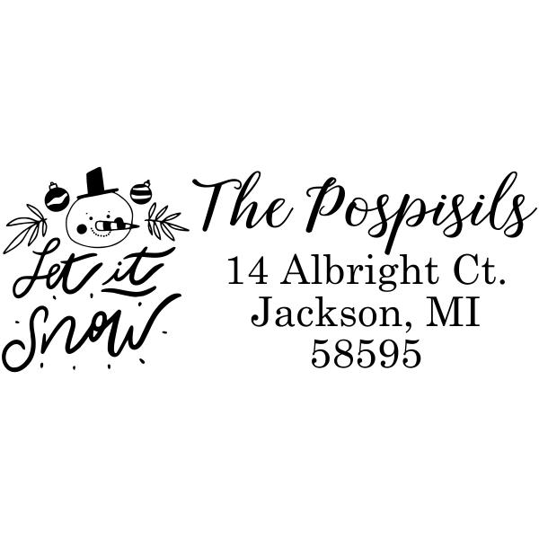 Let It Snow Winter Snowman Address Stamp