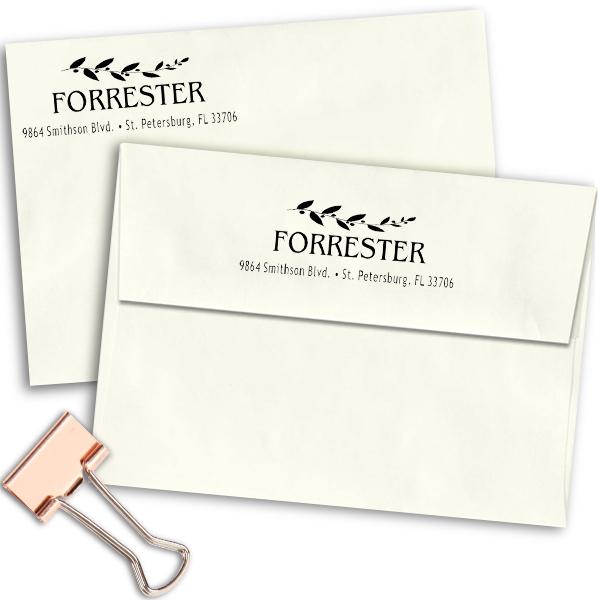 Forrester Leafy Vine Address Stamp Imprint Examples on Envelopes