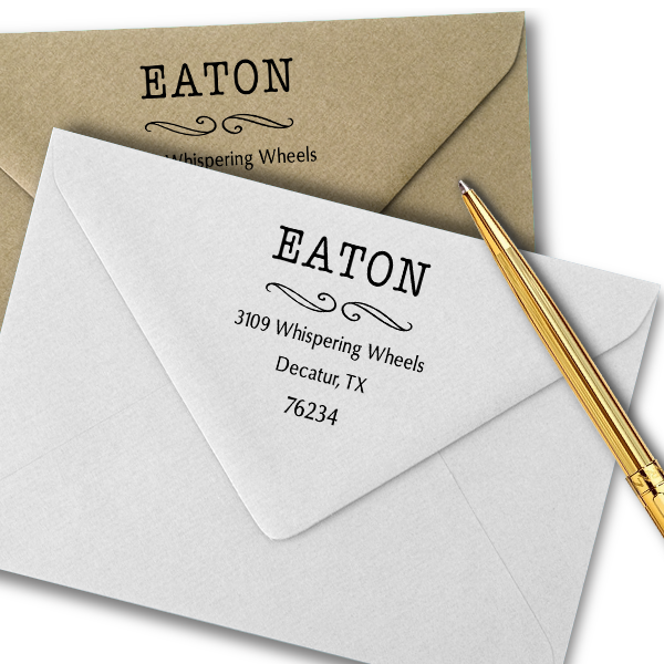 Eaton Deco Curly Q Address Stamp Imprint Examples on Envelopes