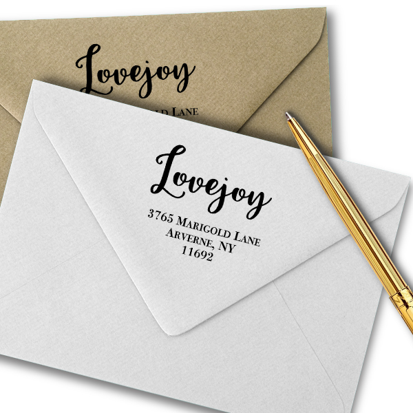 Lovejoy Script Address Stamp Imprint Example