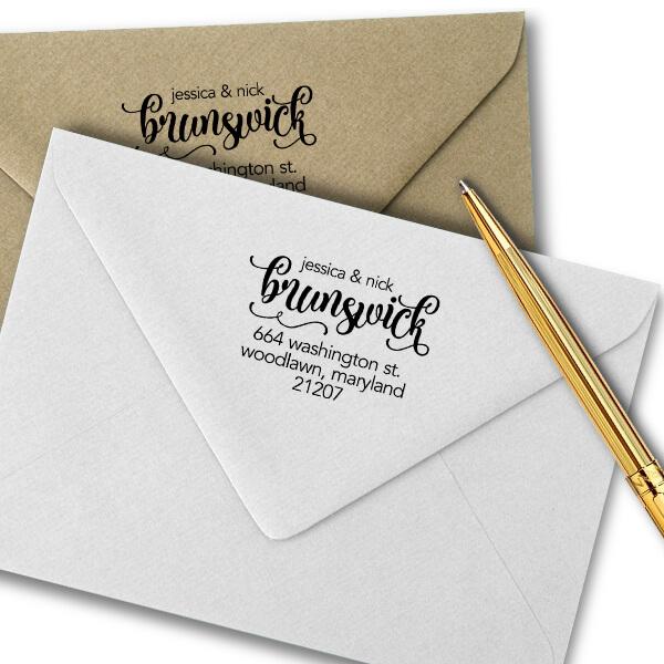 Brunswick Script Address Stamp Imprint Example