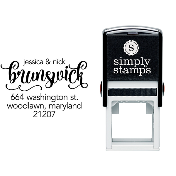 Brunswick Script Address Stamp Body and Design