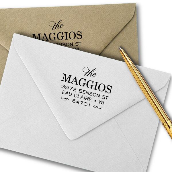 Uptown Script Return Address Stamp Imprint Example