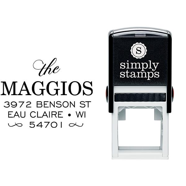 Uptown Script Return Address Stamp Body and Design
