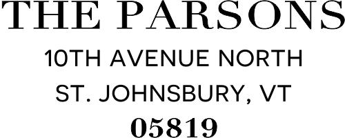 Parsons Classic Return Address Stamp