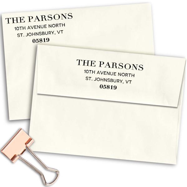 Parsons Classic Return Address Stamp Imprint Example