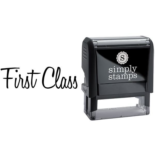First Class in Script Lettering Business Stamp