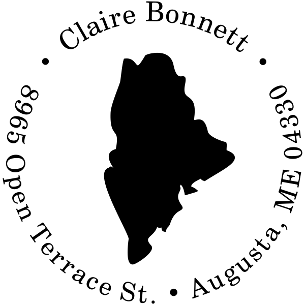 Maine Round State Address Rubber Stamp