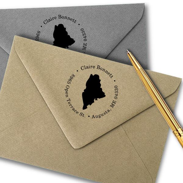 Maine Round Address Stamp Imprint Example