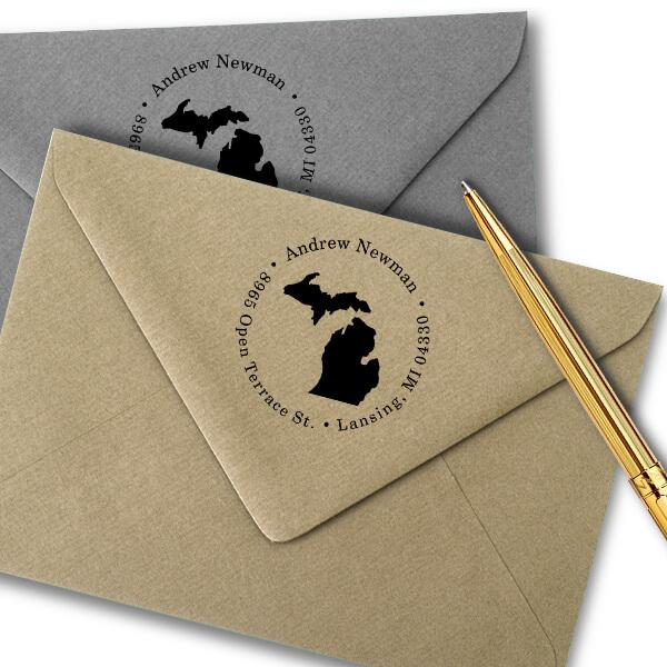 Michigan Round Address Stamp Imprint Example